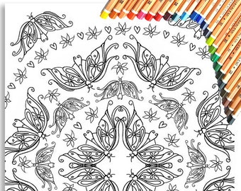 Butterfly Circle Colouring Page 'The Circus Girl Colouring Book'