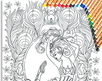 Aerial Hoop Circus Girl Colouring Page 'The Circus Girl Colouring Book'