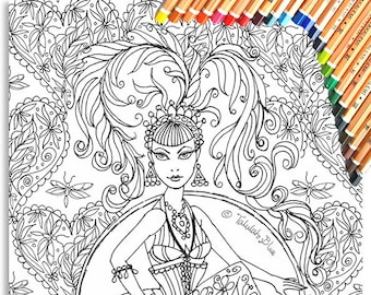 Showgirl Colouring Page 'The Circus Girl Colouring Book'