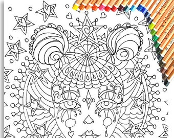 Clown Girl Colouring Page 'The Circus Girl Colouring Book'