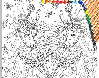 Circus Girl Twins Colouring Page 'The Circus Girl Colouring Book'