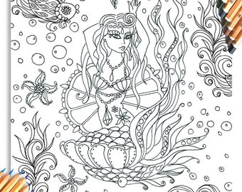 Mermaid Colouring Page 'The Circus Girl Colouring Book'