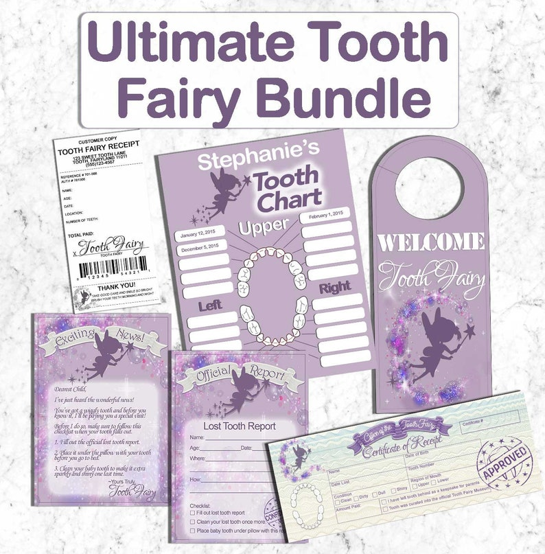 picture regarding Tooth Fairy Ideas Printable named Enamel Fairy Be aware Receipt Certification Missing Enamel Chart Doorway Hanger Deal Small children Teeth Fairy Pillow Present Strategies Printable Custom made Boy Woman