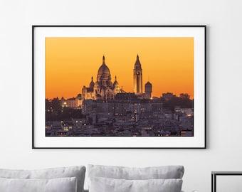 Paris Photography, Sacred Heart Basilica atop Montmartre hill, Sacré Coeur, Wall Art Print, Large Decor, Paris Print, Paris Picture