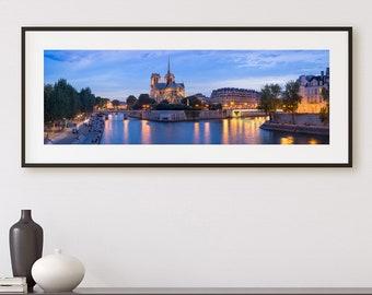 Large panoramic photo of Paris, Notre-Dame de Paris, Seine River, Paris illuminated, Large Wall Art, Paris Decor, Panorama Print, Poster