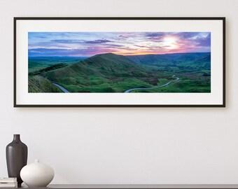 Great Ridge, Mam Tor, Derbyshire, Peak District, England countryside Photography, Peak Districk Wall Art, England Décor, Sunset Photo