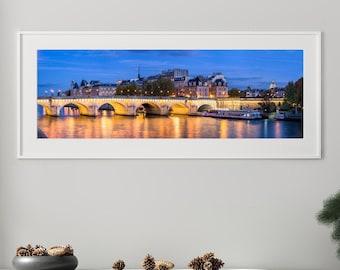 Pont Neuf Paris illuminated at blue hour - Wall Art, Travel, Paris, France, Panorama, Panoramic, Limited Edition Fine Art Print