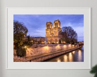 Notre Dame Paris Photography, Paris Wall Art, Paris Decor, Home Decor, Notre Dame Print, New Home Gift, Cathedral Photo, Night Photography