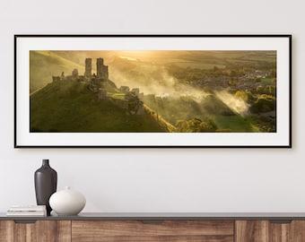 Large Wall Art, Fine Art Print of Corfe Castle, Dorset, England, UK - Landscape Photography, Home Decor, England Art