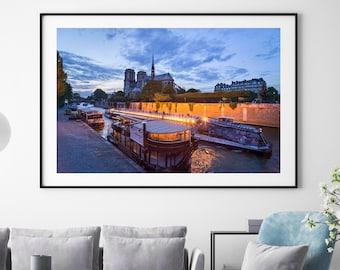 Notre Dame Print, Paris Photography, Paris at Night, Barge, Living Room Wall Decor, Wall Art, Gift, Travel Photography, Night Photography