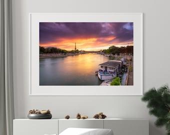 Paris Sunset Photography, Pont Alexandre III, Eiffel Tower, River Seine, Boats, Epic Sunset, Travel Photography, Wall Art, Home Decor
