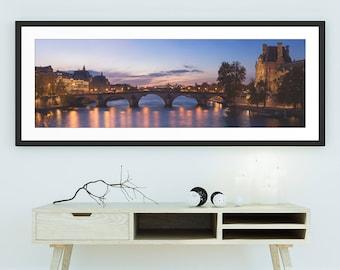Pont Royal at dusk - Wall Art, Travel, Paris, France, Panorama, Panoramic, Limited Edition Fine Art Print