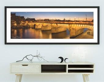 Pont Neuf illuminated at dusk - Wall Art, Travel, Paris, France, Panorama, Panoramic, Limited Edition Fine Art Print