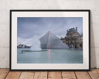 Fine Art Photography, Paris, Louvre, Pyramid, Paris Photography, Wall Art Print, Paris Home Decor, Wall Decor, Decorate, Living Room, Office