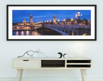 Paris Photography, Pont Alexandre III at blue hour, Night Photography, Cityscape Photography, Bridge of Paris, Fine Art Print