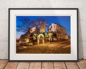 Restaurant Paris Le Moulin de la Galette, famous windmill in Montmartre, parisian night scene, wall art decor, fine art photograph