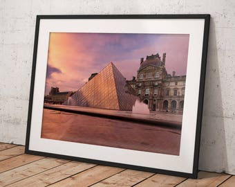 Fine Art Print of the Louvre Pyramid and Museum, Paris, France - Wall Art - Landscape Photography
