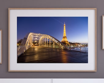 Eiffel Tower Photo, Paris Wall Art Print, Eiffel Tower decor, modern paris print, travel photography, paris by night, eiffel tower wall art