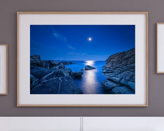 Fine Art Print of Moonrise over the Brittany Coast at blue hour - Wall Art - Landscape Photography