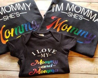 ec673b1f I'm Mommy, I'm Mama, Mama, Mommy, Gay Couple, Wives, Pride Shirt, Lesbian,  Equality, Set of Two, Two Moms, Rainbow, Gay Marriage, Lesbians