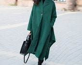 Green wool jacket long length wool coat maix wool cape wool cloak plus size winter coat cashmere coat plus size clothing