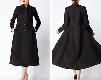 ea1b7a42861 Black wool jacket warm cozy coat women wool coat plus size winter coat long  sleeve coat dress plus size clothing custom