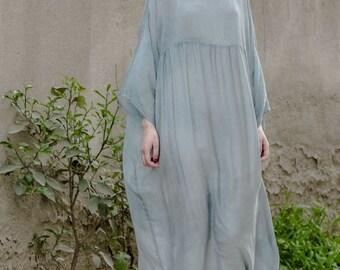 34bdf83db5a2 Women long tunic dress cotton blouse silk cotton dress summer dress with  inside dress women plus size clothing linen maxi dress women dress