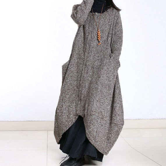 various kinds of outstanding features website for discount Loose wool jacket long sleeve wool coat long cloak long wool dress plus  size winter coat jacket plus size clothing