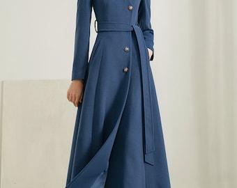 Women Long Full Length Wool Jacket,Long Cozy Coat,Belt Coat,Plus Size Winter Coat,Dress Coat,Princess Coat,Handmade Coat