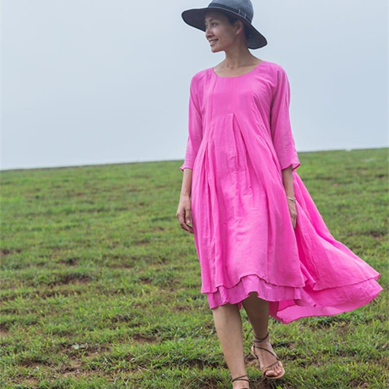 6484b9e03d19f3 3 4 mouwen tuniek jurk zijde katoen jurk dubbele laag midi