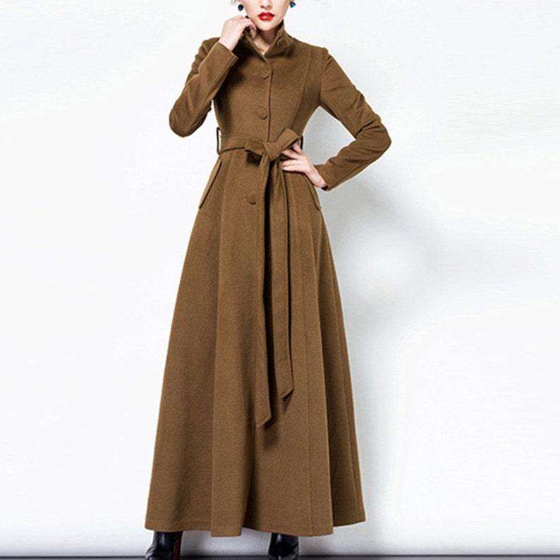 b377adf9ebf Women long full length wool jacket warm cozy coat plus size