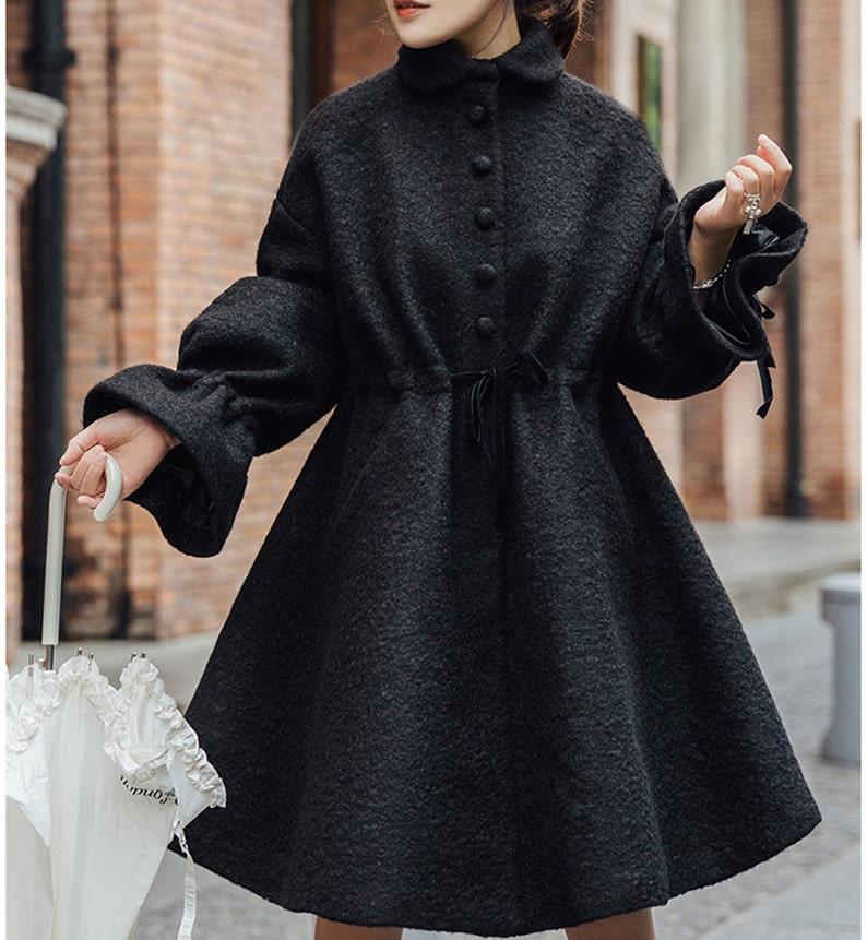 6abefa73095 Women wool jacket warm cozy coat outwear bat-wing sleeve wool