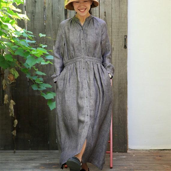 Robe En Lin Robe Tunique Automne Printemps Robe Lin Robe De Etsy