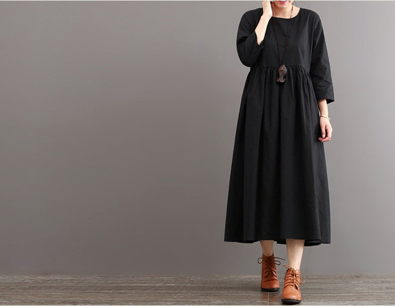 c711a60f6977 Black pleated dress autumn linen dress long shift dress round | Etsy