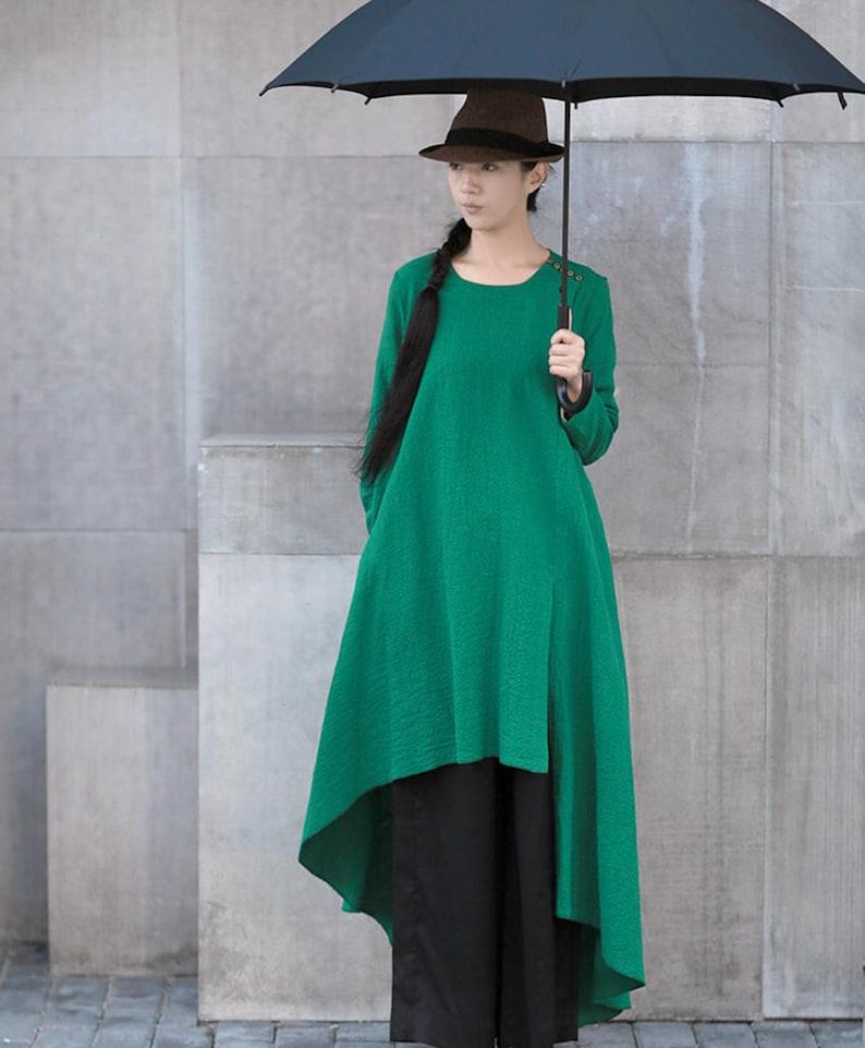 0e564115db96 Green dress spring linen dress loose linen shirt linen maxi