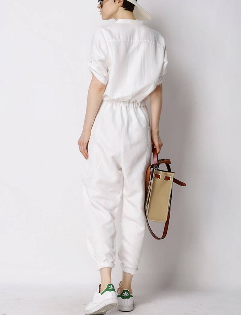 e650bc70007 Casual loose linen jumpsuit linen overall women wide legged
