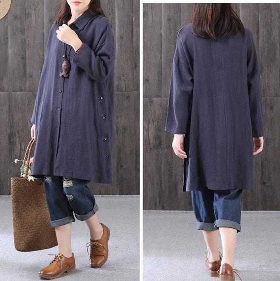 L'automne haut lin chemise en lin longue manches tunique en lin automne coton Chemise veste en lin haut lin vêtements plus haut de taille vêtements