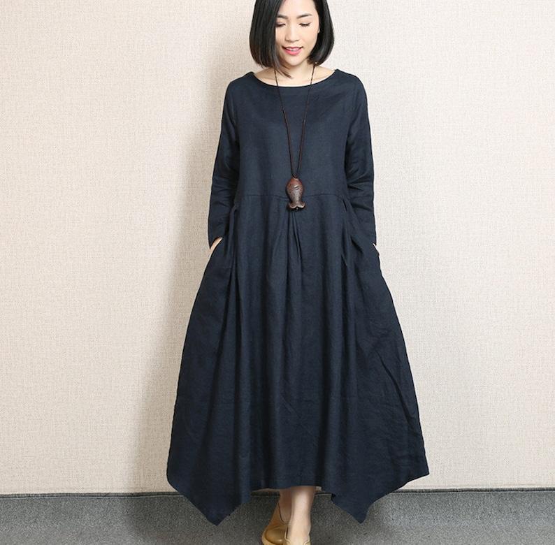 86f1ffb71a2c Tunica asimmetrica abito vestito di lino sciolto manica lunga