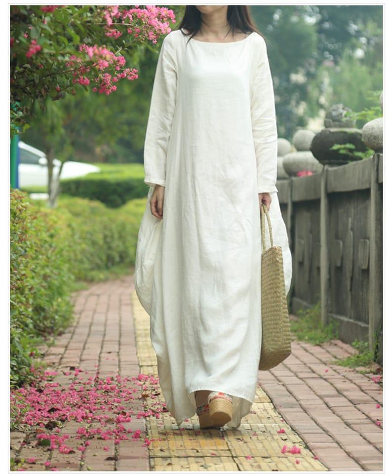5c4d1f34095da5 Lange witte katoenen jurk