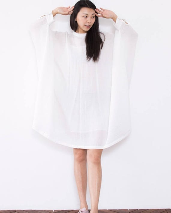 White cotton shirt long sleeve tunic dress linen dress maxi | Etsy