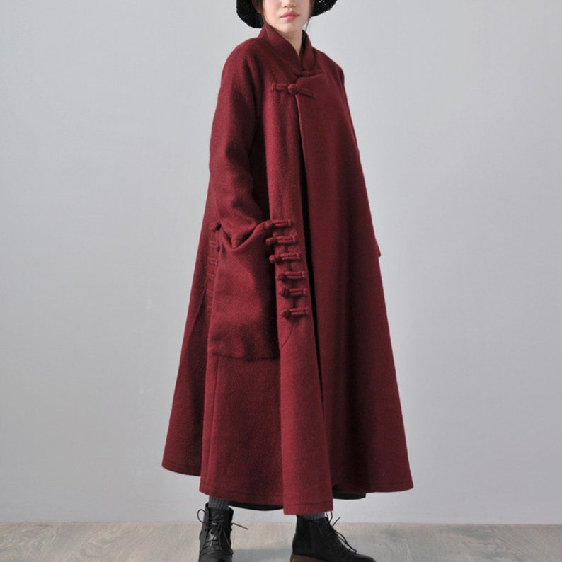 9a0c3775ae8 Long length wool jacket with one big pocket warm cozy coat