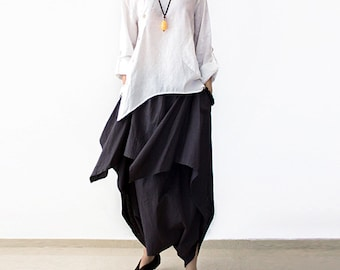 Casual loose linen harem pants wide legged trousers comfortable maxi pant baggy pants plus size linen clothing