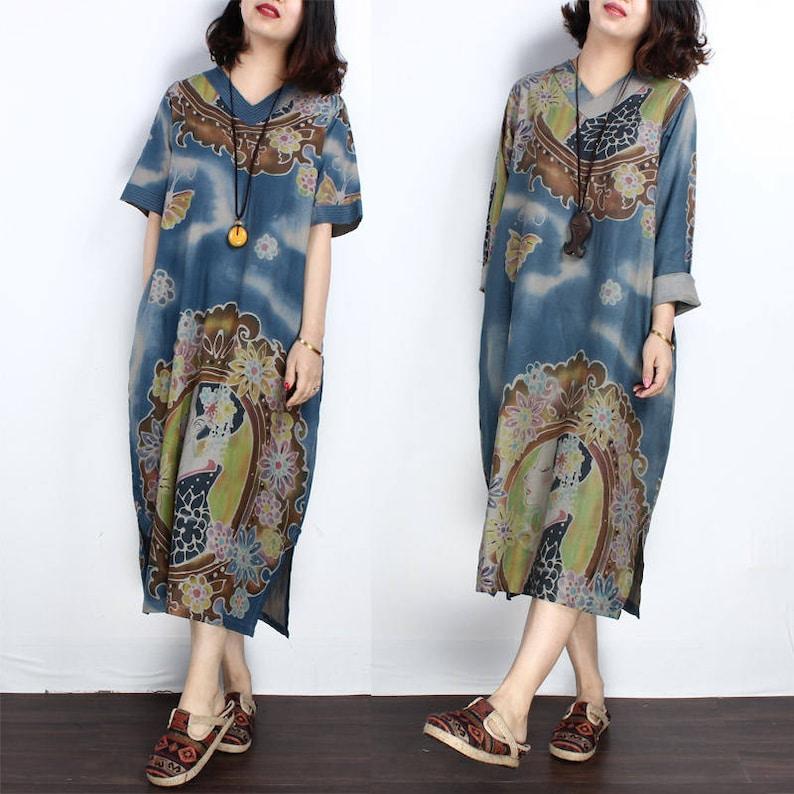 d92d6c54198d8a Robe tunique décontractée lâche V rond lin maxi robe d'été longue robe en  coton grande taille robe plus taille vêtements femmes robe femmes ...