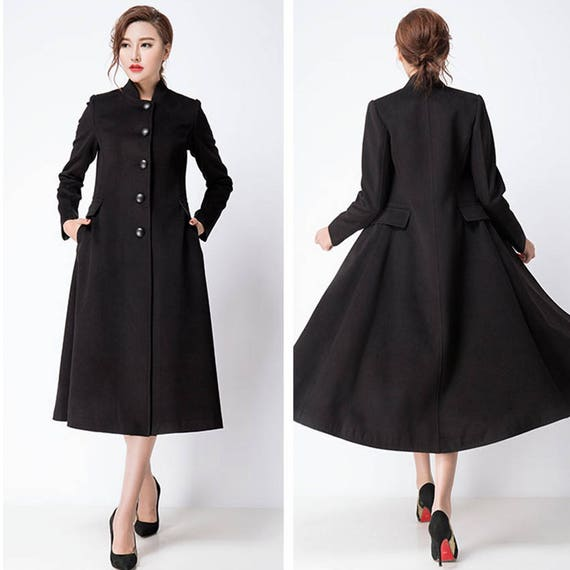 Black Wool Jacket Warm Cozy Coat Women Wool Coat Plus Size Etsy