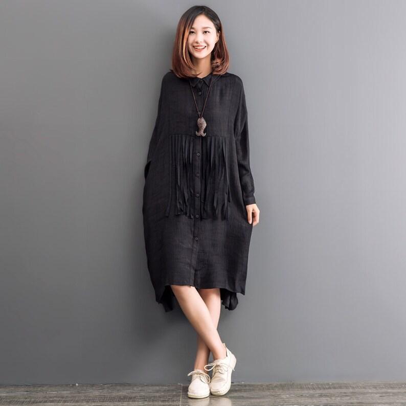 140c5d46a8e687 Zwarte tuniek jurk asymmetrisch shirt lange mouwen jurk