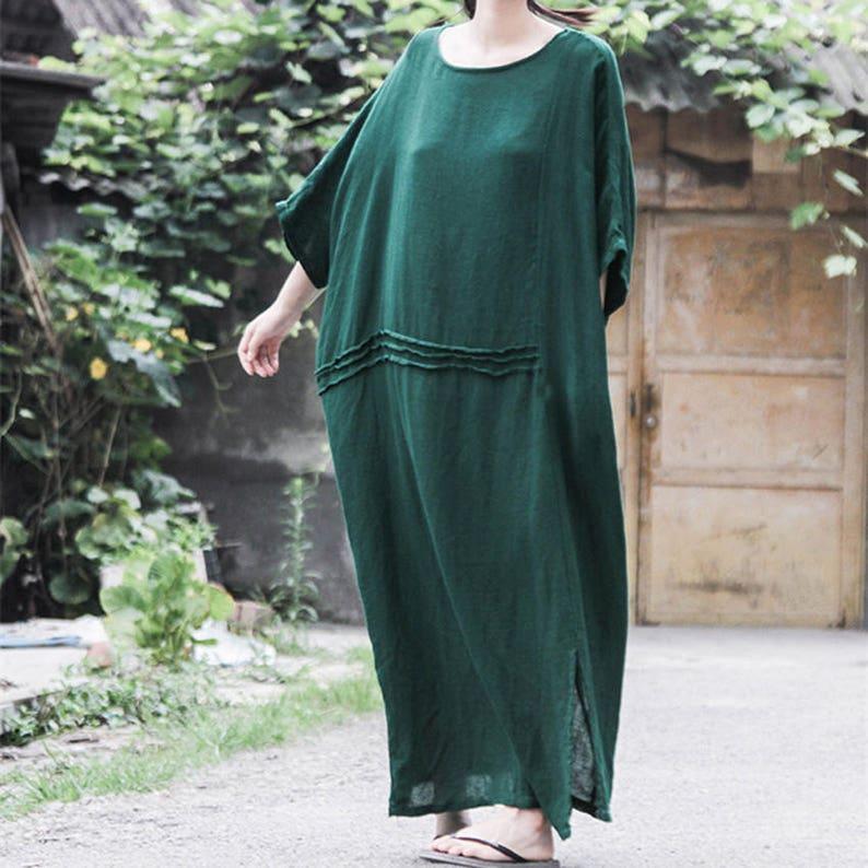 64d0ce0403 Green linen dress loose tunic dress linen maxi dress long