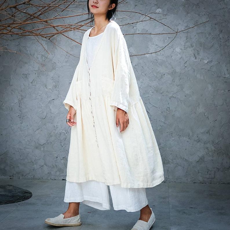 8b86f9ad1 White linen top linen tunic linen jacket linen coat loose   Etsy