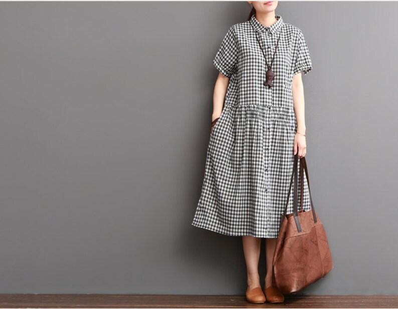 a1f1d701e87e0e Casual losse zomer jurk lang geplooide jurk katoenen blouse
