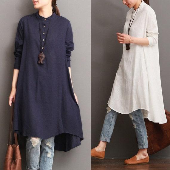 Long Sleeve A Line Shirt Dress E020---White Pleated Linen Shirtdress Made to Order.