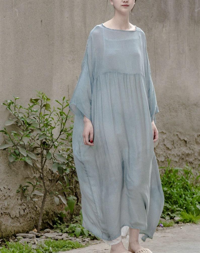 eb257fcec33b5d Vrouwen lange tuniek jurk katoenen blouse zijde katoen kleding